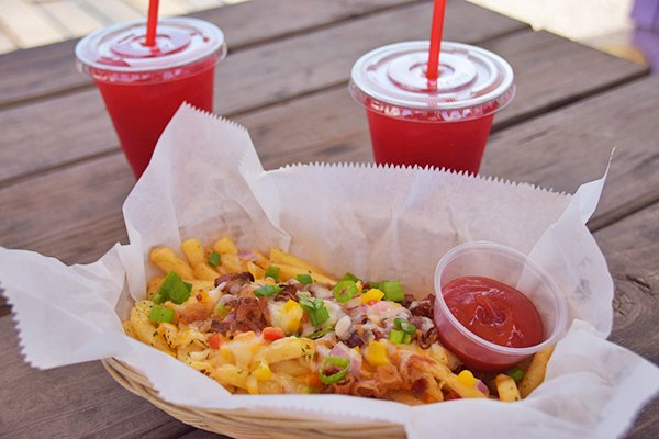 Loaded fries and raspberry juice at cafe 264