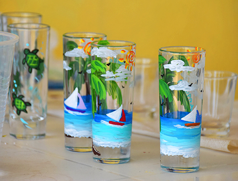 Anguilla inspired painted shot glasses