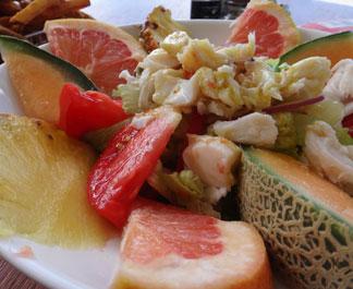 up close photo of the lobster salad at madeariman