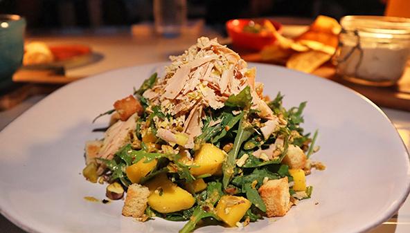 Mango & Foie Gras Salad at cafe celeste malliouhana
