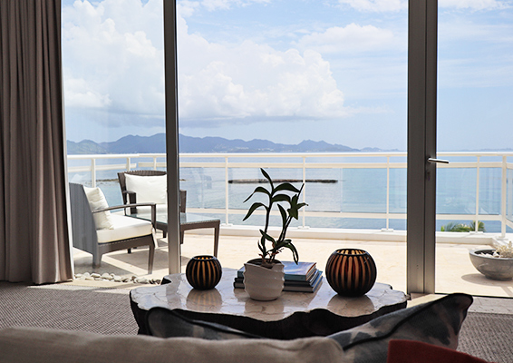 View from bed of Master Bedroom at Champagne Shores of sea and Saint Martin