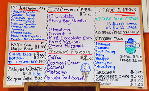 Menu at crave