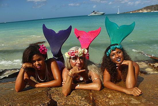 mermaids in sandy ground