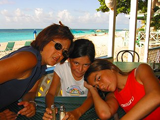 Mom, Nori and Yuki at Madeariman restaurant on Shoal Bay
