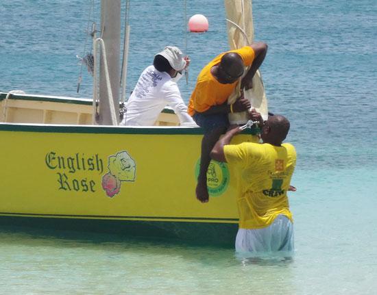 securing the jib on de tree racing boat