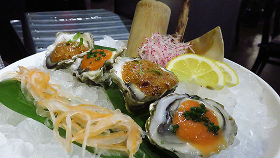 oysters on the half shell at tokyo bay