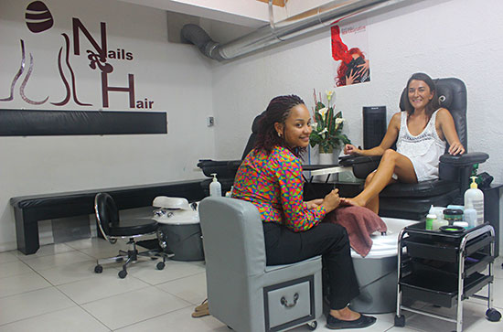 pedicure station at nails r hair in anguilla