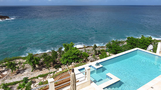 pool view of sunset beach house taken from above