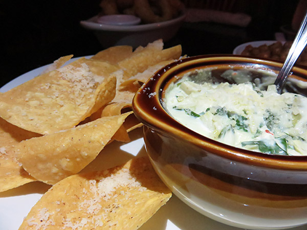spinach and artichoke dip at pumphouse