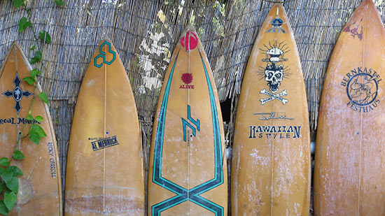 surfboards at rincon surf school