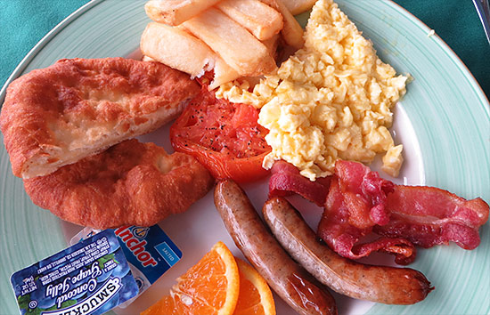 the full english breakfast with johnny cake