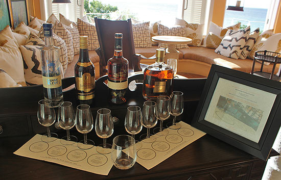 rum tasting display malliouhana