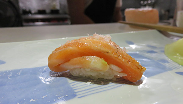 salmon with ginger sushi