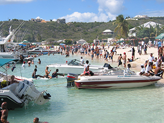 The August Monday crowds on Sandy Ground, Anguilla