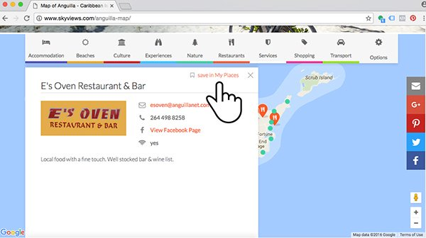 save in my places anguilla map feature