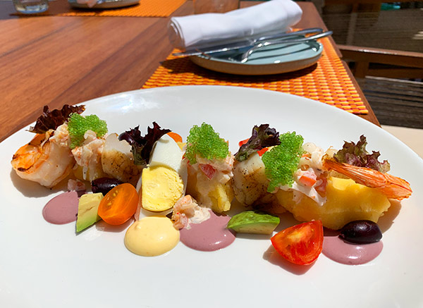 scallops and shrimp causa at belmond