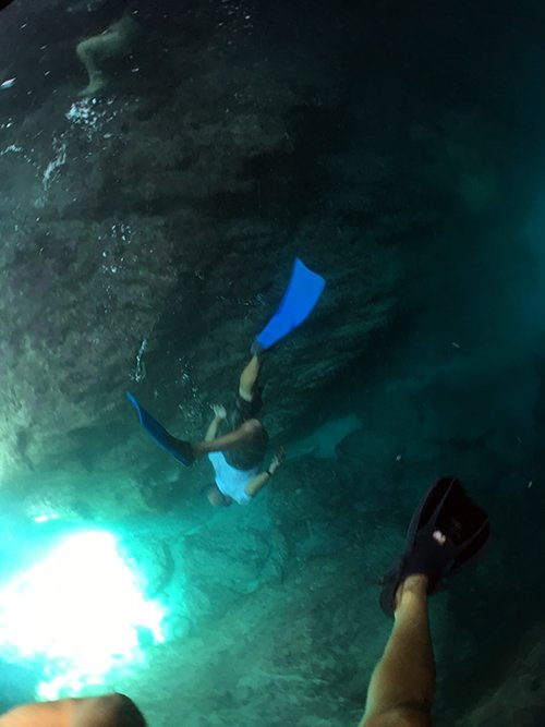 swimming to the lights end inside the sea cave