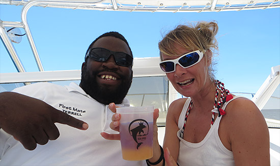 terrell and sanja with the rum punch