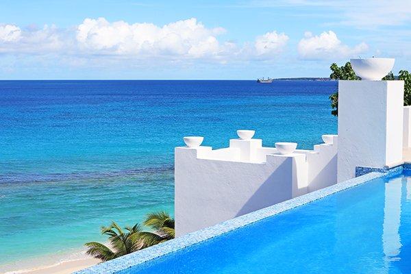 Pool & Beach View at Sea Villa, Long Bay Villas