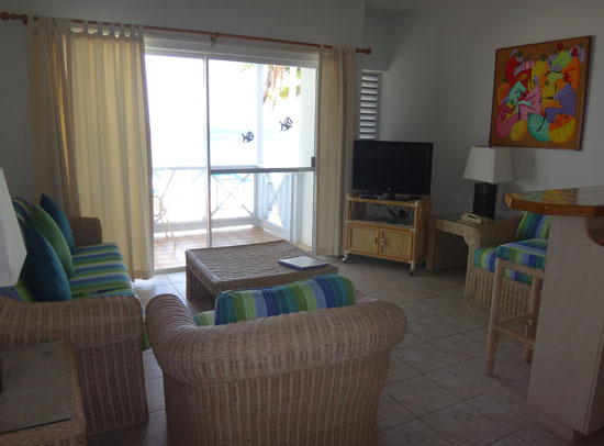 second floor living room at shoal bay villas hotel