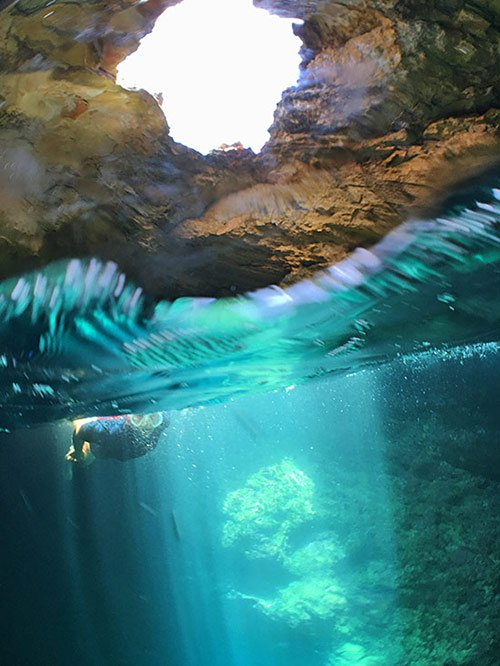 skylight inside scrub island cave