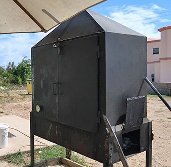 Smoke pit used to cook