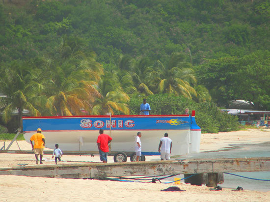 launching racing boat sonic in anguilla
