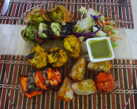 tandoori platter appetizer at spice of india