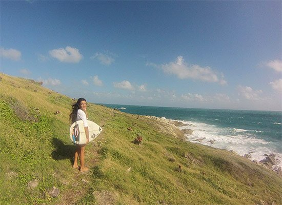 hiking to a new spot for st. martin surf