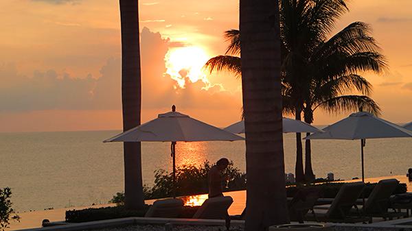 sun setting in anguilla at four seasons resort