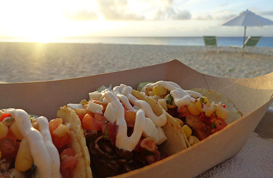 anguilla food tacos on the beach