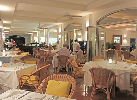 the dining room at le bistro at santorini