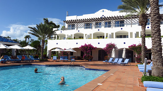 the main resort house and pool