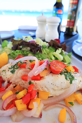 Traditionally Baked Anguillian Snapper Fillets at The Beach Bar and Grill at Cuisinart