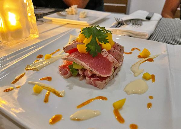 Seared Ahi Sashimi Tuna Tower at SALT Restaurant & Bar at The Morgan Resort & Spa