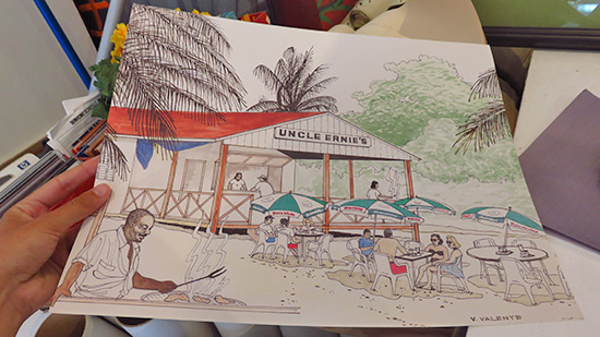 uncle ernies of yester year drawing found at devonish art gallery in anguilla