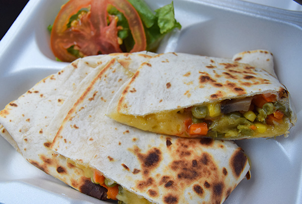 vegetable quesadilla from hungrys good food van