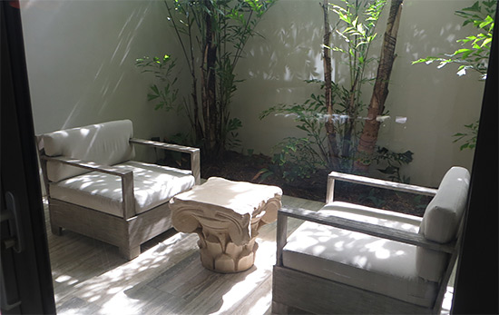 outdoor seating area at spa