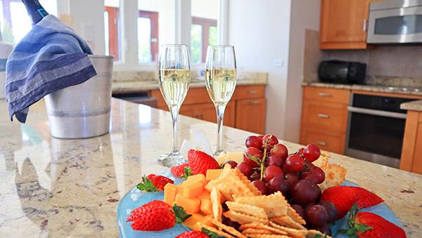 Beach Escape Villa welcome snacks and champagne
