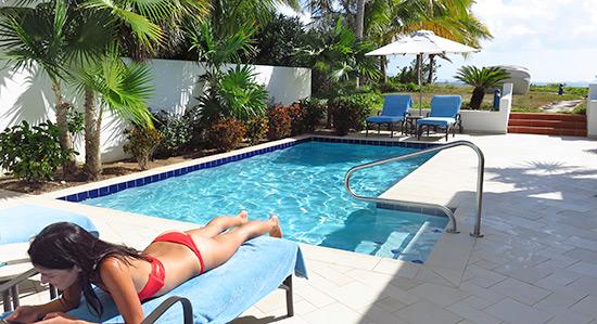 yuki enjoying the pool at the pool suite
