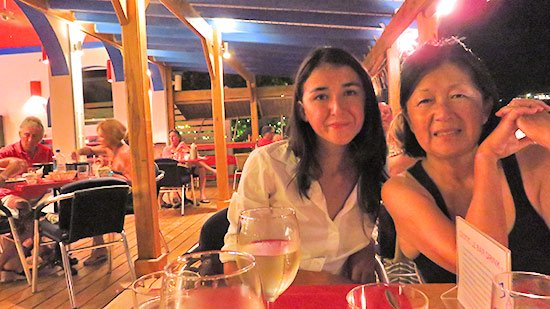 yuki and mom after a great meal at le bar