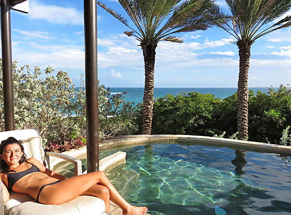 yuki soaking up the rays in the pool of bird of paradise villas master suite