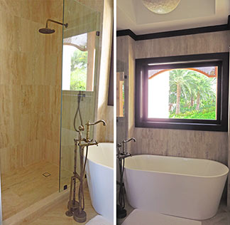 deluxe hotel room bathroom showers and tub at zemi