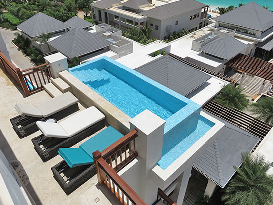 looking down on the pool at zemi suite
