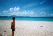 My husband on the beach