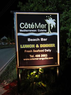 Cote Mer Sign in Island Harbour
