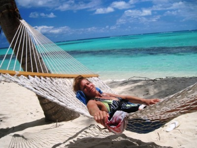 Claudia relaxing at Shoal Bay