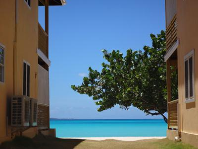 Between the buildings at Rendezvous Bay Hotel