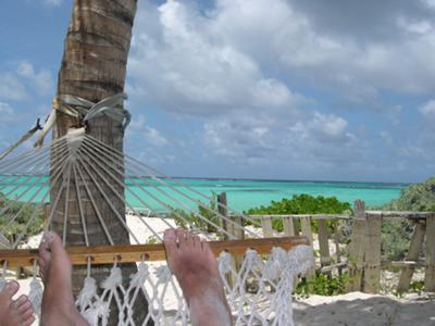 Relaxing in the hammocks at Gwen's on Shoal Bay East